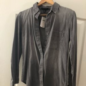 Gray button down, demon like material, BR top. NWT
